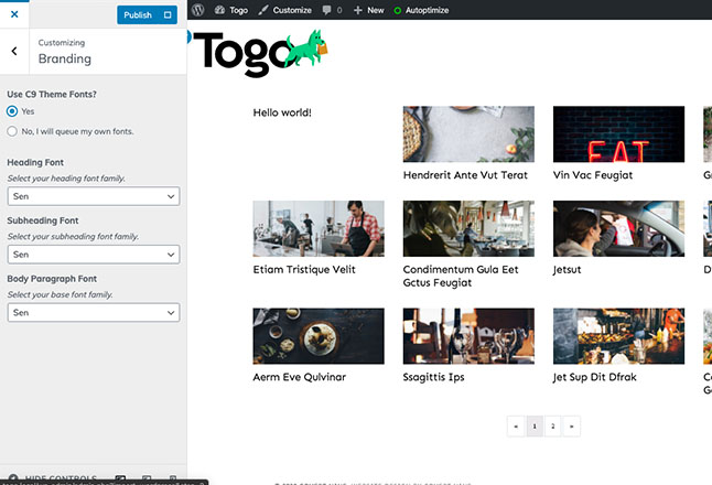 Change Togo site fonts from branding within the customizer