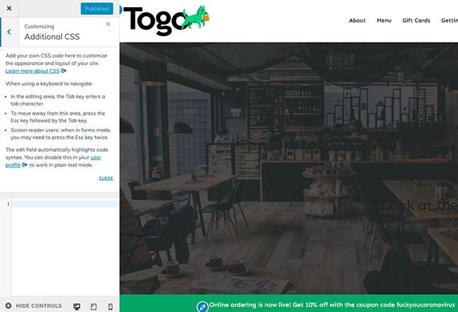 Add custom CSS to change site design styles